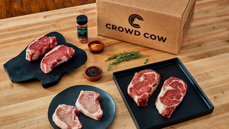 Get high-quality meats delivered right to your door with Crowd Cow, which is offering $100 off your next three food boxes.