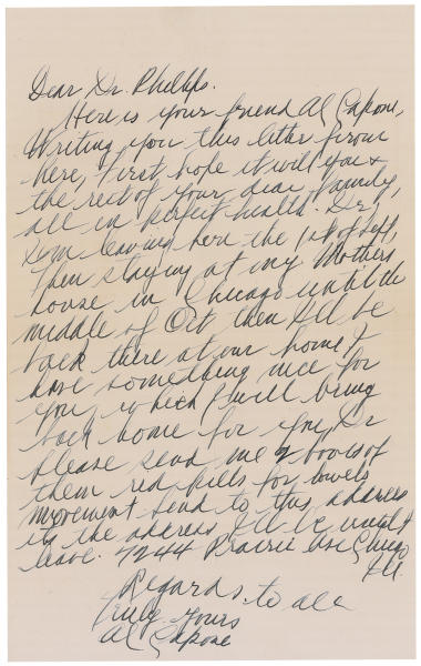 """This image released Thursday, May 30, 2013, by RR Auction in Amherst, N.H., shows a handwritten letter from gangster Al Capone detailing the final years of his life and declining health. The letter is part of an """"Old West, Gangsters and Mobsters"""" collection that will be auctioned in June. Capone died in 1947 at age 48. (AP Photo/RR Auction)"""