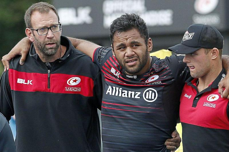 Big blow | Saracens No8 Billy Vunipola needed surgery after injuring his knee against Sale: Rex Features
