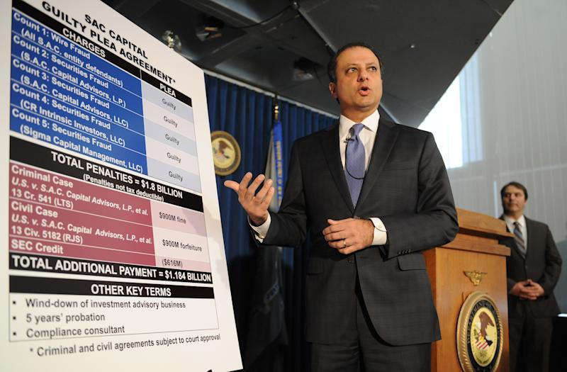 U.S. Attorney Preet Bharara speaks at a press conference, Monday, Nov. 4, 2013, in New York. Federal prosecutors in New York say hedge fund giant SAC Capital Advisors has agreed to plead guilty to fraud charges and to pay a $1.8 billion financial penalty. AP Photo/Louis Lanzano)