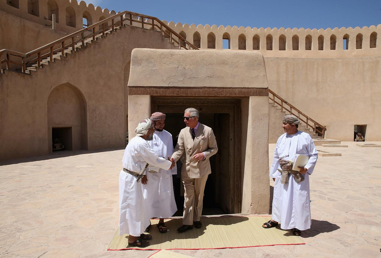 NIZWA, OMAN - MARCH 18:  Prince Charles, Prince of Wales visits Nizwa Fort on the eighth day of a tour of the Middle East on March 18, 2013 in Nizwa, Oman. The Royal couple are on the fourth and final leg of a tour of the Middle East taking in Jordan, Qatar, Saudia Arabia and Oman.  (Photo by Chris Jackson/Getty Images)