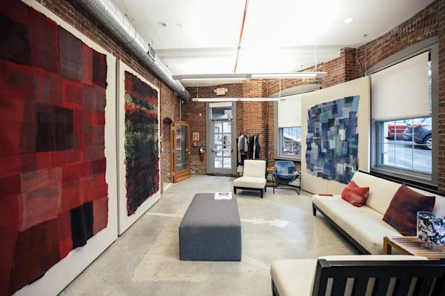 The lobby of Eileen Fisher's Tiny Factory, in Irvington, N.Y. (Photo: Courtesy of Eileen Fisher)