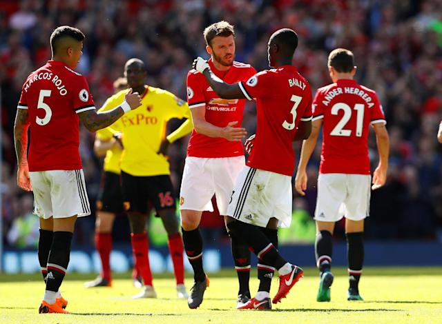 "Soccer Football - Premier League - Manchester United vs Watford - Old Trafford, Manchester, Britain - May 13, 2018 Manchester United's Michael Carrick shakes hands with Eric Bailly as he is substituted Action Images via Reuters/Jason Cairnduff EDITORIAL USE ONLY. No use with unauthorized audio, video, data, fixture lists, club/league logos or ""live"" services. Online in-match use limited to 75 images, no video emulation. No use in betting, games or single club/league/player publications. Please contact your account representative for further details."