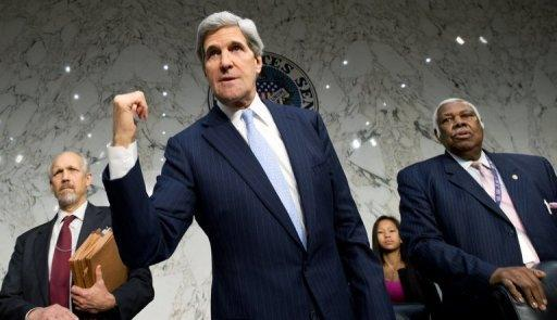 John Kerry (centre) at the Senate Foreign Relations Committee on Capitol Hill in Washington, DC on December 20, 2012