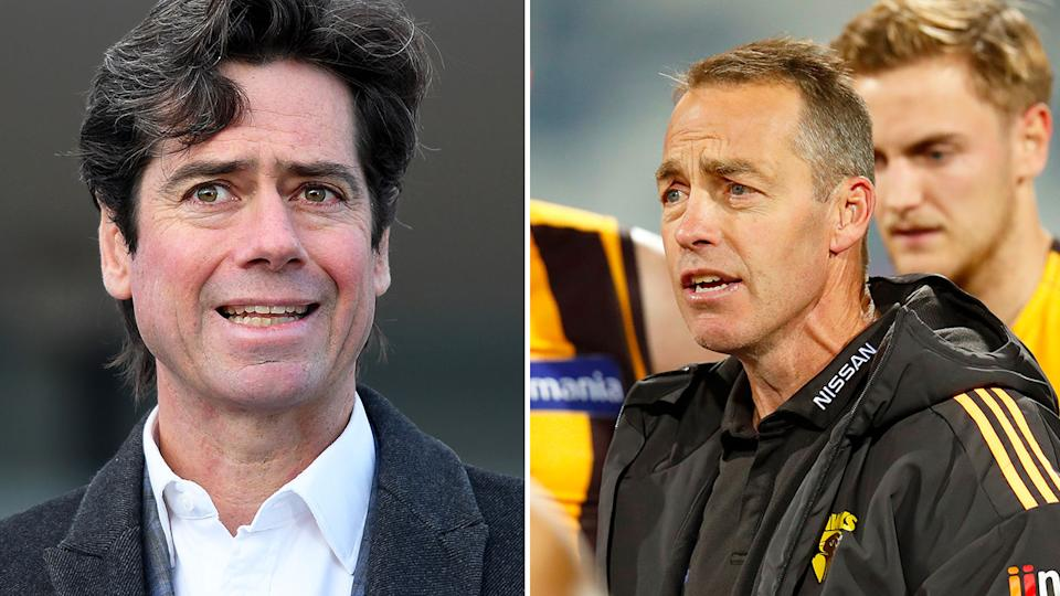 Pictured here, AFL CEO Gillon McLachlan and Hawthorn coach Alastair Clarkson.