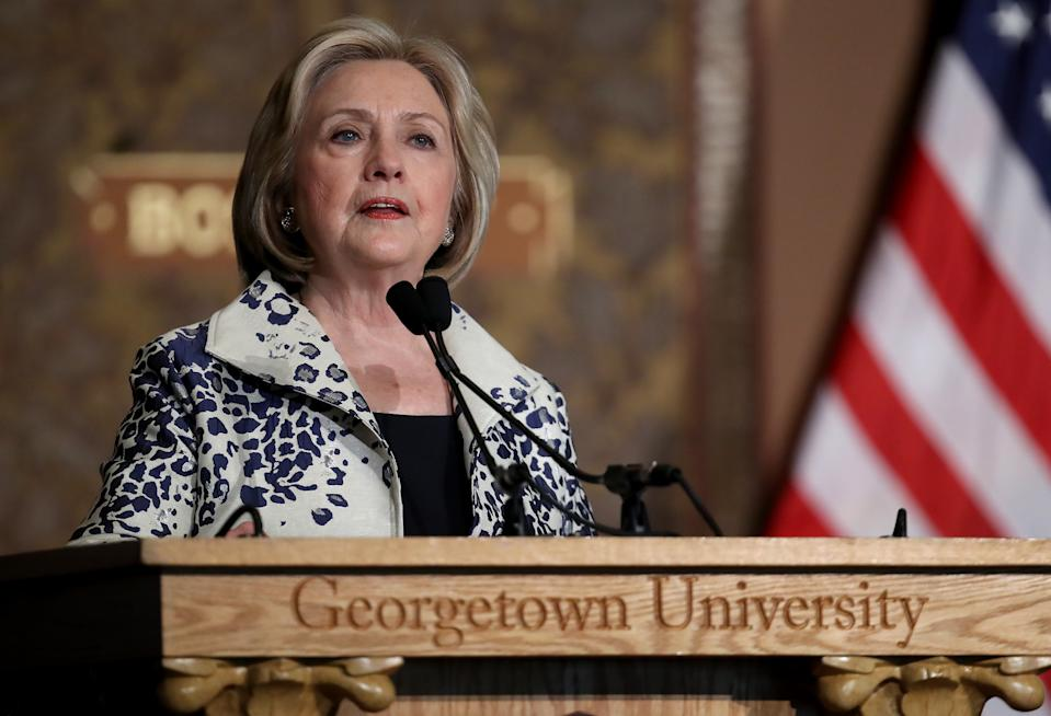WASHINGTON, DC - SEPTEMBER 27:  Former U.S. Secretary of State Hillary Clinton speaks at Georgetown University September 27, 2019 in Washington, DC .Clinton delivered remarks before recognizing the winners of the 2019 Hillary Rodham Clinton Awards for Advancing Women in Peace and Security. (Photo by Win McNamee/Getty Images)