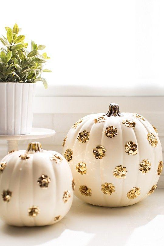 "<p>These pumpkins are all the glam, none of the gross scooping out the insides. Get the tutorial at <a href=""https://sugarandcloth.com/diy-sequin-polka-dot-pumpkins/"" rel=""nofollow noopener"" target=""_blank"" data-ylk=""slk:Sugar & Cloth"" class=""link rapid-noclick-resp"">Sugar & Cloth</a>.</p><p><a class=""link rapid-noclick-resp"" href=""https://www.amazon.com/Craft-Party-bottled-Glitter-Decoration/dp/B01MD1DVYJ/ref=pd_lpo_sbs_201_img_0?_encoding=UTF8&psc=1&refRID=4D4FTHH43R0VK4TECK36&tag=syn-yahoo-20&ascsubtag=%5Bartid%7C10057.g.2554%5Bsrc%7Cyahoo-us"" rel=""nofollow noopener"" target=""_blank"" data-ylk=""slk:BUY NOW"">BUY NOW</a> <strong><em>Gold Glitter, $12</em></strong></p>"