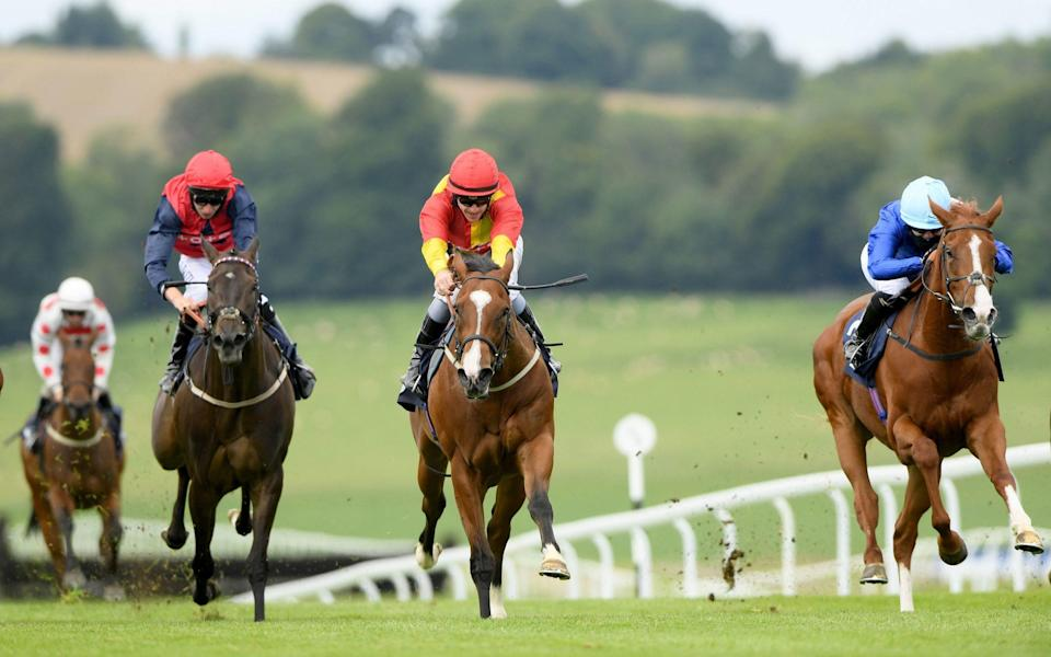 Newton Jack ridden by Richard Kingscote (centre) goes on to win The Toalsbet WhatsApp Betting Now Available Handicap at Chepstow Racecourse. PA Photo. Issue date: Tuesday July 21, 2020 - PA