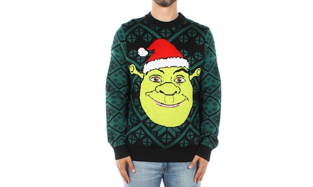 "<p>Put a Santa hat on him and the swamp ogre gets you right into the holiday mood. <strong><a href=""https://www.tipsyelves.com/mens-shrek-sweater"" rel=""nofollow noopener"" target=""_blank"" data-ylk=""slk:Buy here"" class=""link rapid-noclick-resp"">Buy here</a></strong> </p>"