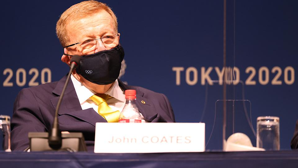 John Coates, pictured here speaking to the media during the IOC Press Conference in Tokyo.