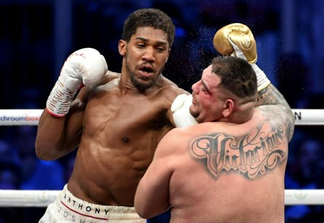 Anthony Joshua (white trunks) could be set for an all-British showdown with Tyson Fury (AFP Photo/)