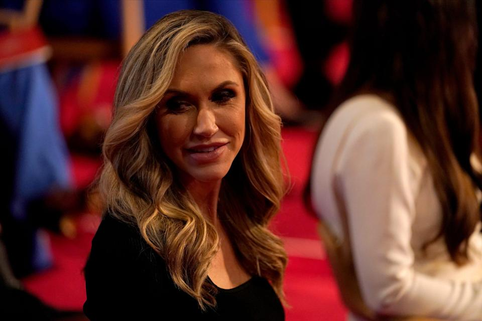 Lara Trump waits for the first presidential debate Tuesday, Sept. 29, 2020, at Case Western University and Cleveland Clinic, in Cleveland, Ohio.