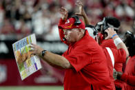 Kansas City Chiefs head coach Andy Reid instructs his team during the second half of an NFL football game against the Arizona Cardinals, Friday, Aug. 20, 2021, in Glendale, Ariz. (AP Photo/Rick Scuteri)