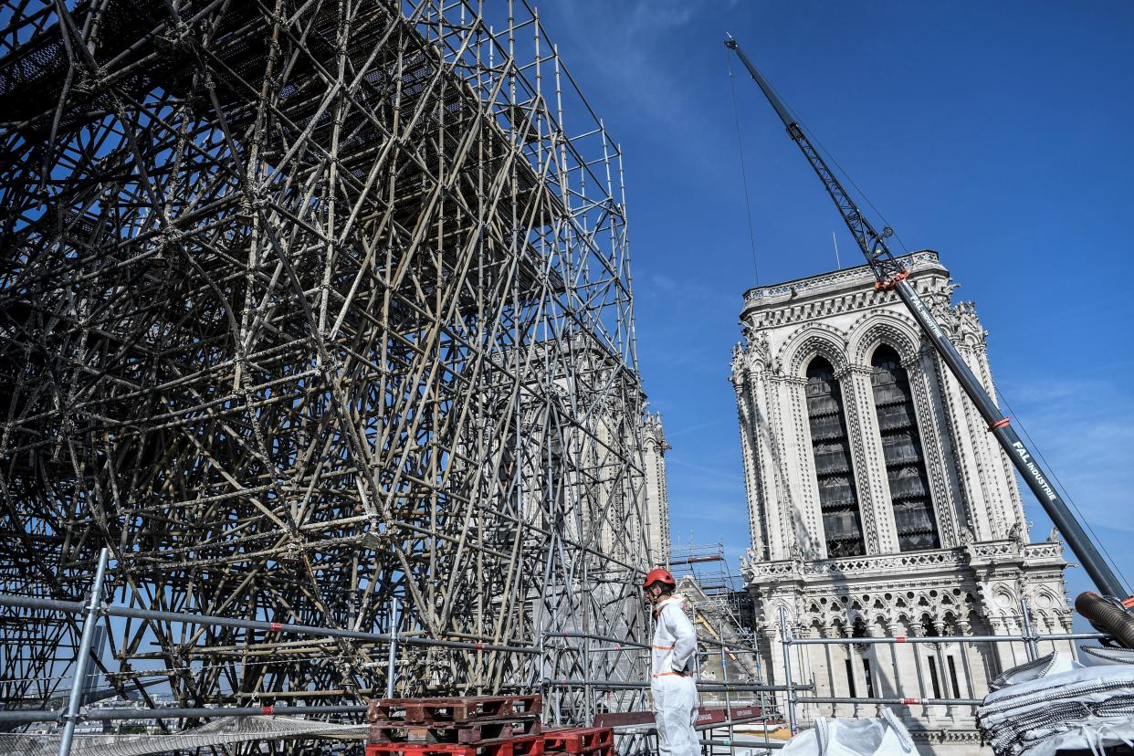 Scaffolding is seen during preliminary work on top of the Notre Dame Cathedral, July 17, 2019 in Paris.(Photo: Stephane de Sakutin/Pool via AP)