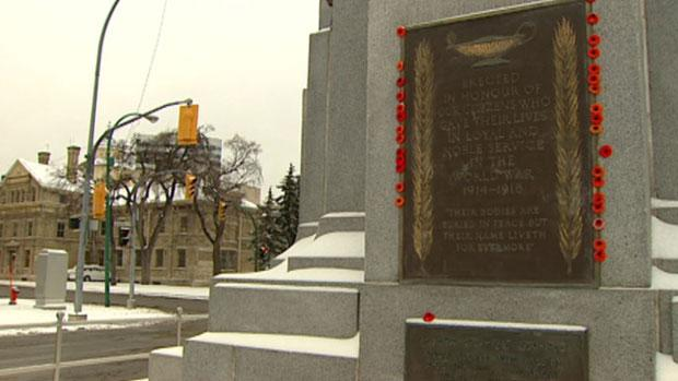 The cenotaph in downtown Winnipeg is a focal point for Remembrance Day observations.