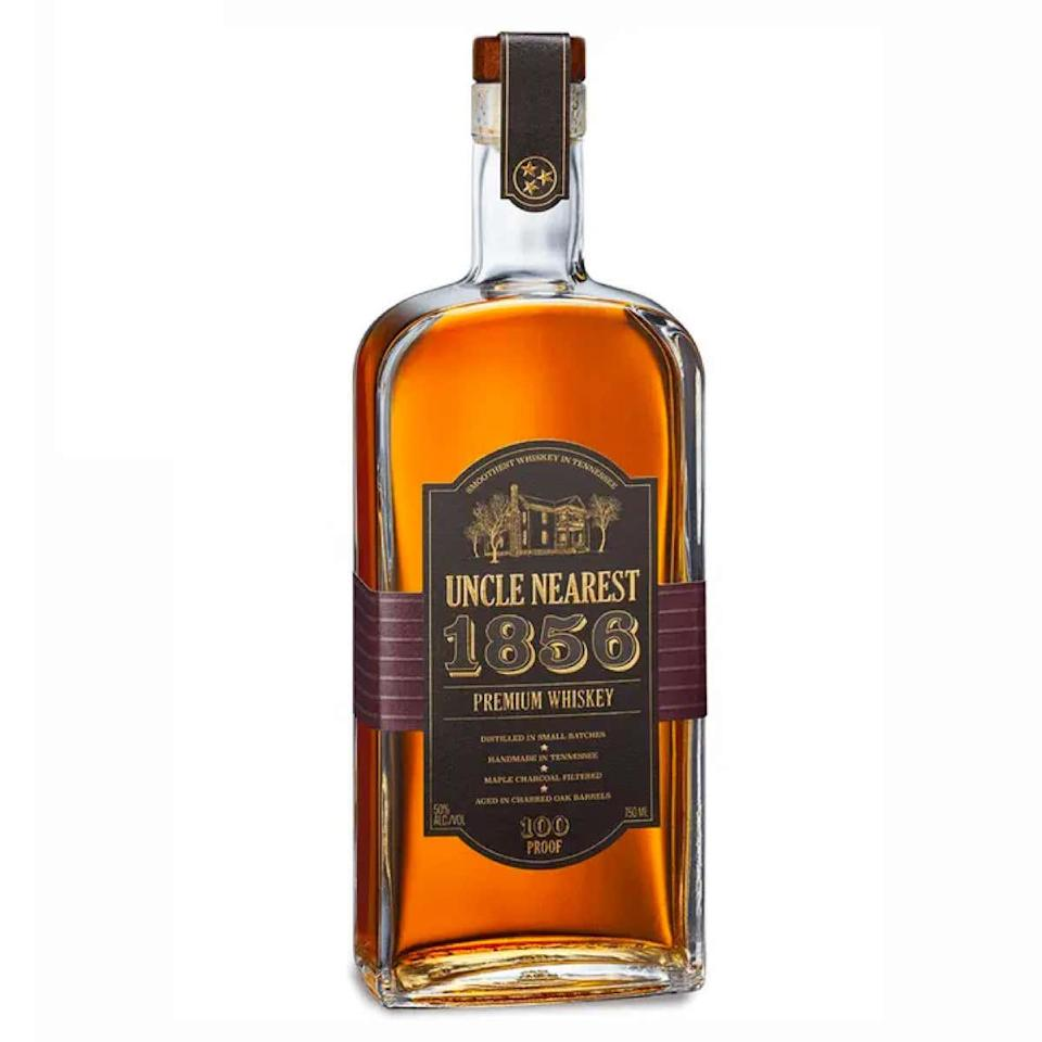 "Inspired by Nearest Green, an enslaved Black distiller who taught a young Jack Daniel the tricks of the trade, Uncle Nearest is led by the first Black woman CEO of a major American spirit brand—and is an essential topper for any bar cart. $63, Drizly. <a href=""https://drizly.com/liquor/whiskey/american-whiskey/uncle-nearest-1856-premium-whiskey/p85755"" rel=""nofollow noopener"" target=""_blank"" data-ylk=""slk:Get it now!"" class=""link rapid-noclick-resp"">Get it now!</a>"