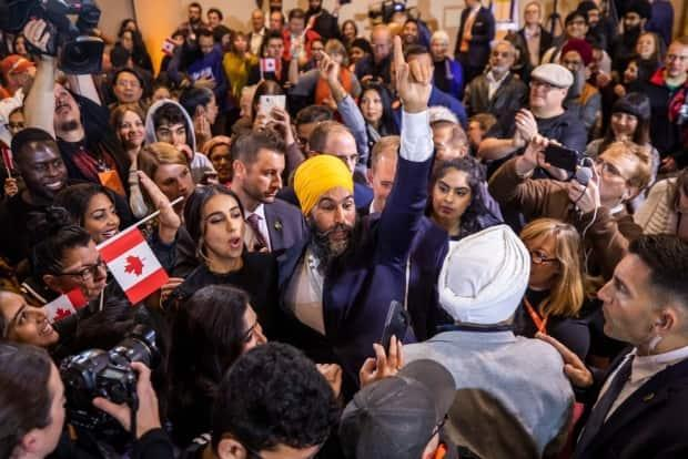NDP leader Jagmeet Singh celebrates after his election victory in Burnaby South on Oct. 21, 2019.