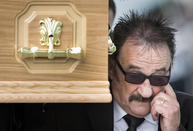Paul Elliott carries the coffin of his brother Barry Chuckle, 73, (real name Barry Elliott) at the New York Stadium, Rotherham, for his funeral following his death on Sunday August 5. (Photo by Danny Lawson/PA Images via Getty Images)