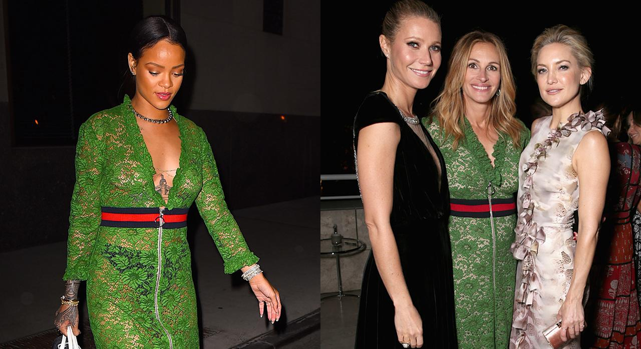 <p>We never expected to name Rihanna and Julia Roberts in the same sentence let alone find them in twinning looks. Yes, back in October 2016 the actress wore Gucci's most talked about dress for the InStyle Awards. Then in a surprising turn of events, Rihanna followed suit and stepped out in the very same dress a couple of months later. The sheer lace dress was first debuted on the SS16 runway and has since become a cult item thanks to the A-list clientele. <em>[Photo: Getty]</em> </p>
