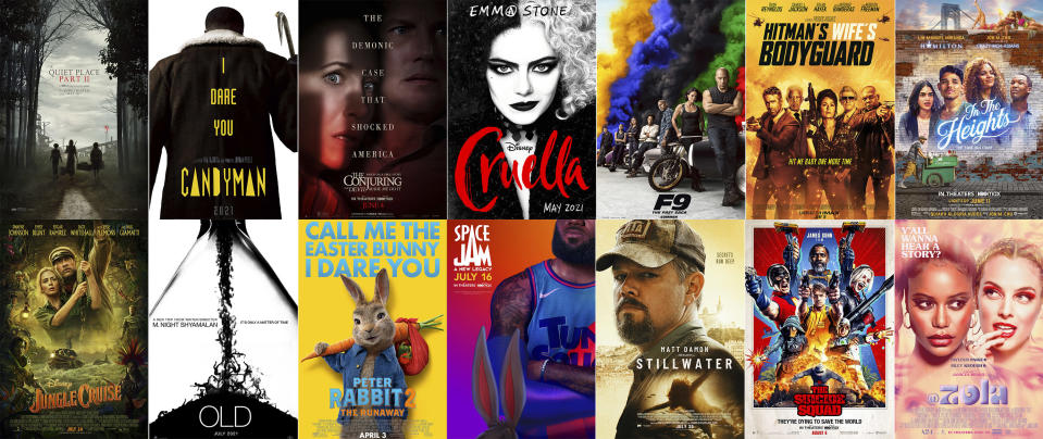 """This combination photo shows poster art for upcoming summer films, top row from left, """"A Quiet Place Part II,"""" """"Candyman,"""" """"The Conjuring: The Devil Made Me Do It,"""" """"Cruella,"""" """"F9,"""" """"The Hitman's Wife's Bodyguard,"""" """"In the Heights,"""" bottom row from left, """"Jungle Cruise,"""" """"Old,"""" """"Peter Rabbit 2: The Runaway,"""" """"Space Jam: A New Legacy,"""" """"Stillwater,"""" """"The Suicide Squad,"""" and """"Zola."""" (Top Row from left, Paramount Pictures/Universal Pictures/Warner Bros. Pictures/Disney/Universal Pictures/Lionsgate/Warner Bros., bottom row from left, Disney, Universal/Sony Pictures/Warner Bros./Focus Features/Warner Bros./A24 via AP)"""