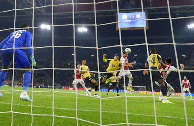 Nicolas Tagliafico crashed home the third as Ajax cruised past Lille in their Champions League opener (AFP Photo/Maurice van STEEN)