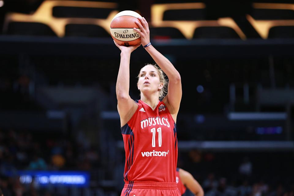 LOS ANGELES, CA - JULY 02: Elena Delle Donne #11 of the Washington Mystics handles the ball against the Los Angeles Sparks during a WNBA basketball game at Staples Center on July 2, 2017 in Los Angeles, California. (Photo by Leon Bennett/Getty Images)