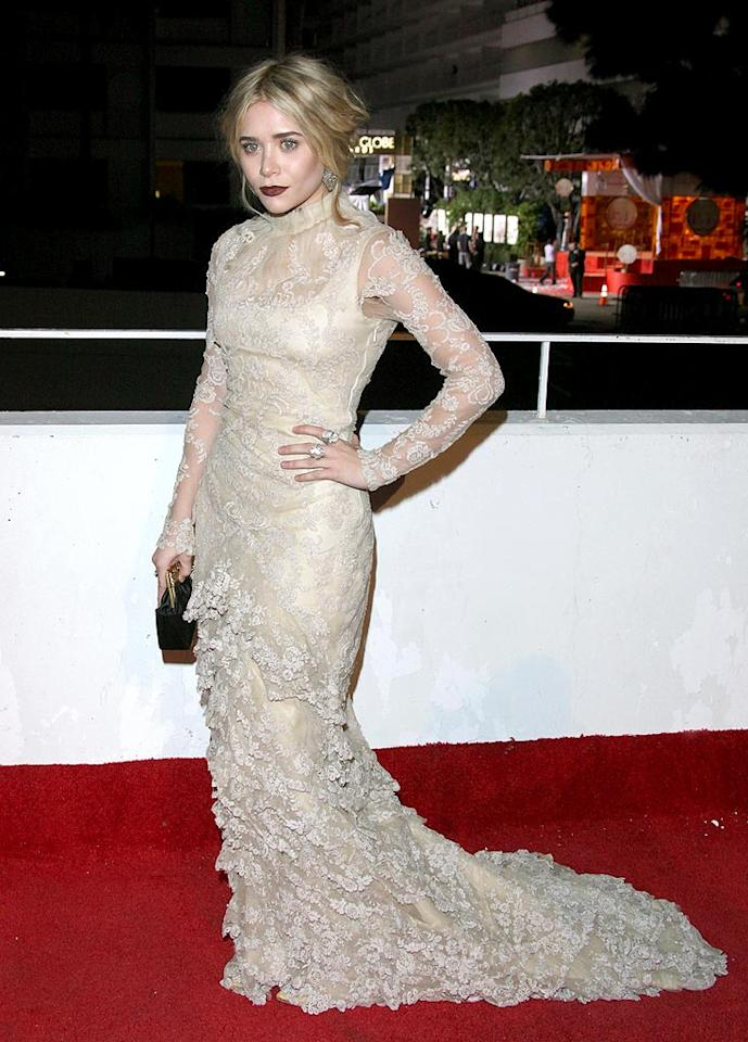 "<b>January</b>: The lace Alexander McQueen dress Ashley Olsen donned for the 3rd Annual Art of Elysium charity gala was undoubtedly glamorous, but unfortunately the multi-millionairess resembled the Bride of Frankenstein thanks to her overly powdered face, unruly updo, and ridiculously dark lipstick. Jen Lowery/<a href=""http://www.splashnewsonline.com"" target=""new"">Splash News</a> - January 16, 2010"