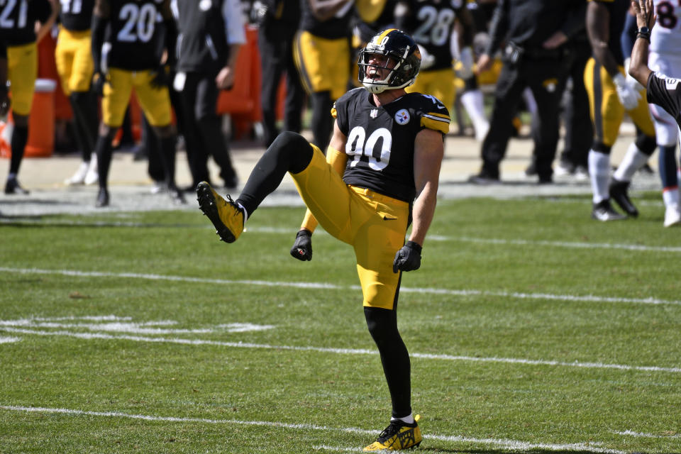 In the Steelers' two wins to open the season, T.J. Watt has been, as they say, a problem for opposing offenses. (AP Photo/Don Wright)