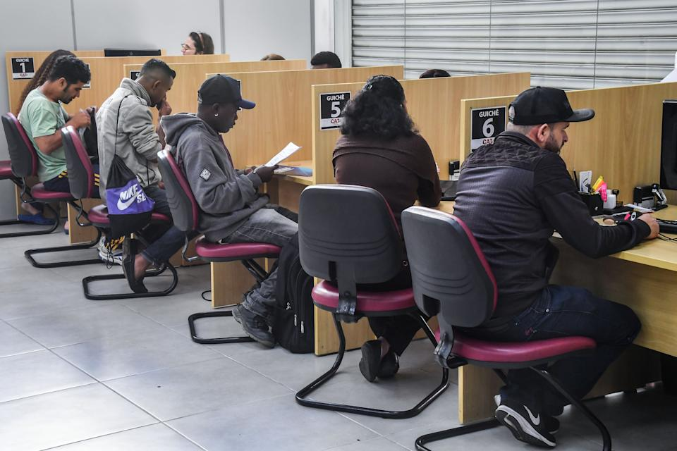 Unemployed people look for job opportunities at a governmental workers service department (CAT) in Sao Paulo, Brazil, on June 11, 2019. - The number of people who have been unemployed for over two years in Brazil reached 3,3 million in the first trimester of 2019, which increased 42,4% in the last four years, according to the Institute of Applied Economic Investigation (Ipea). (Photo by NELSON ALMEIDA / AFP)        (Photo credit should read NELSON ALMEIDA/AFP via Getty Images)