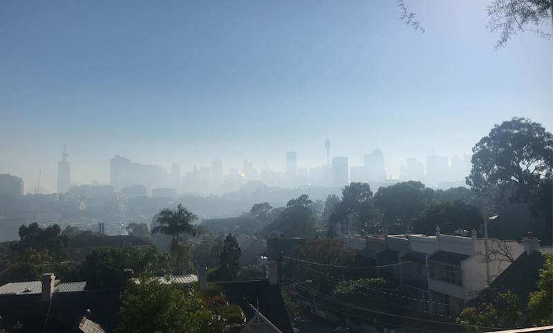 Pictured is Sydney's CBD covered in a heavy layer of smoke on Tuesday. Source: supplied