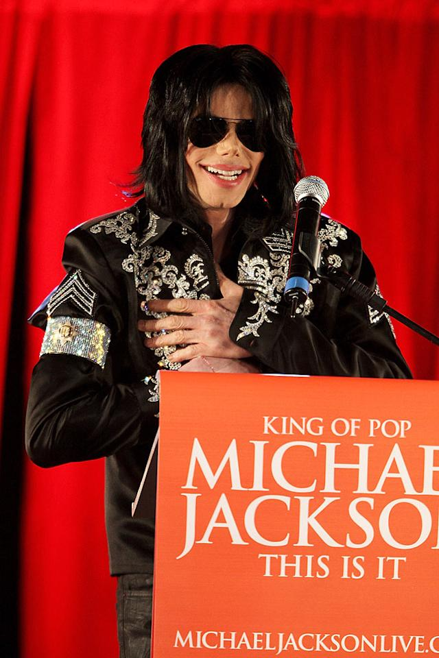 """Michael Jackson announced his plans for a comeback Thursday. The King of Pop will perform a series of concerts at the 02 Arena in London this summer. Over 350,000 people have already registered for the chance to buy tickets, Michael's promoter claimed. Dave Hogan/<a href=""""http://www.gettyimages.com/"""" target=""""new"""">GettyImages.com</a> - March 5, 2009"""