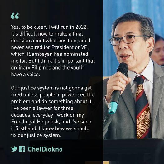 Chel Diokno's statement on his intention to run for office in 2022 (fb.com/cheldiokno)