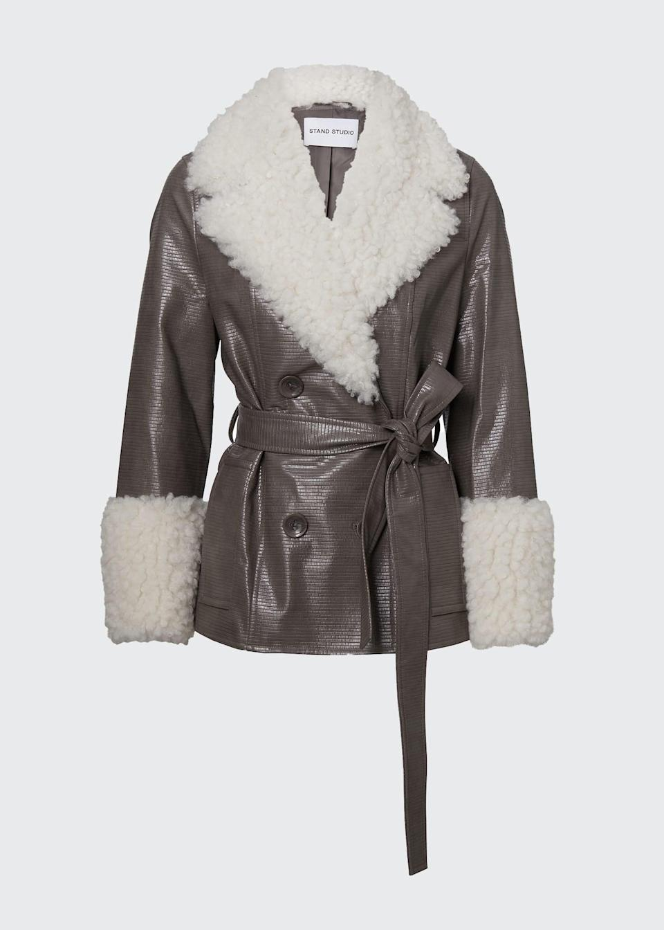 <p><span>Stand Studio Harmony Faux-Leather Jacket With Faux-Fur Trim</span> ($210)</p>