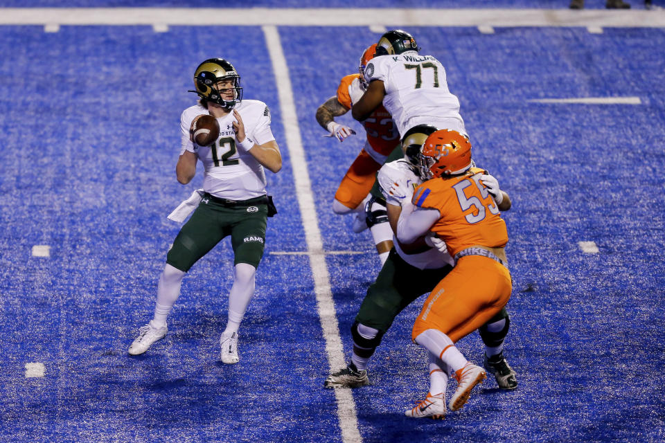 Colorado State quarterback Patrick O'Brien (12) struggled against Boise State. (AP Photo/Steve Conner)