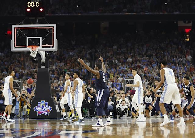 Villanova forward Kris Jenkins (2) reacts after making the game-winning shot at the end of the NCAA championship game against North Carolina in Houston in 2016. (AP)