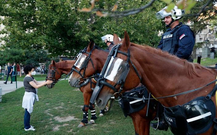 A woman touches a police horse during a demonstration in Belgrade - Darko Vojinovic/AP