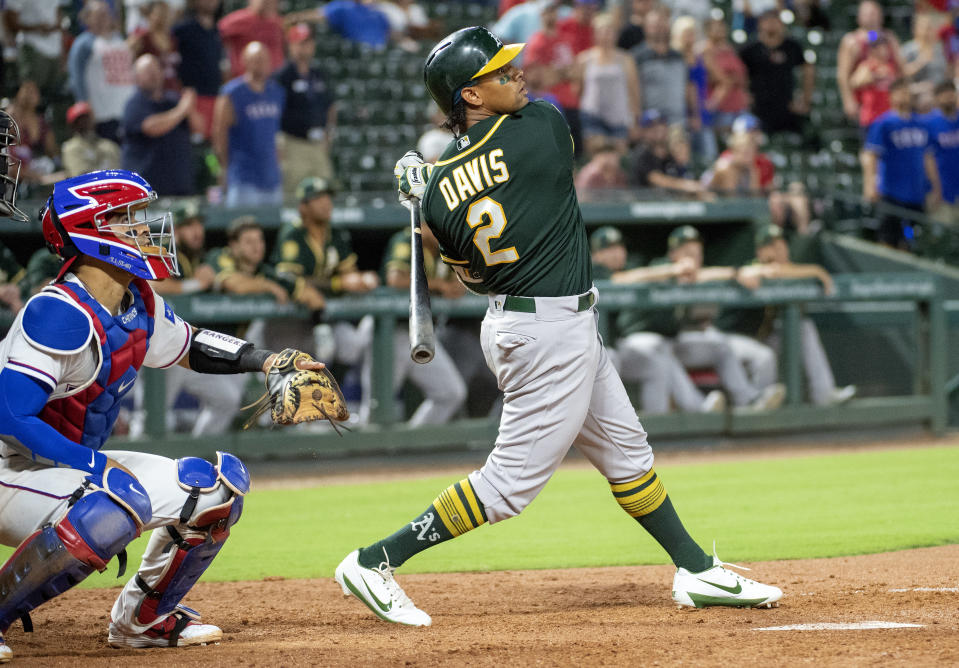 Khris Davis wore the autograph of one of his biggest fans as he mashed his 37th home run of the season against the Rangers. (AP)