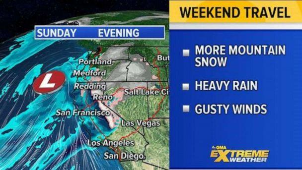 PHOTO: The West Coast will likely be seeing yet a new round of unsettled weather to impact holiday travel for them on Sunday. (ABC News)