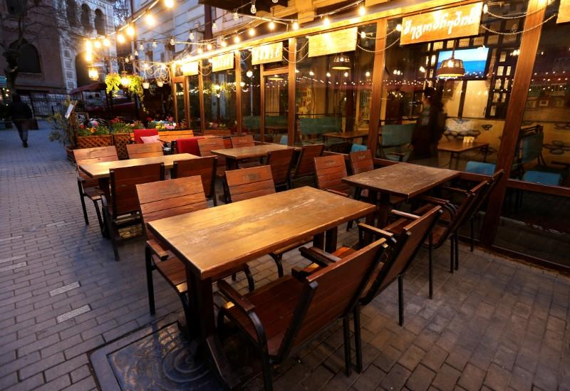 A view shows an empty cafe following coronavirus disease outbreak in Tbilisi