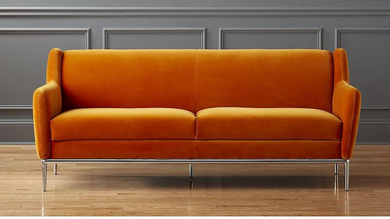 """Get it at <a href=""""https://www.cb2.com/alfred-amber-sofa/s249933"""" target=""""_blank"""">CB2, $1,300</a>."""
