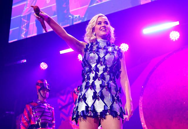 Katy Perry performs onstage during 101.3 KDWB's Jingle Ball 2019 in St. Paul/Minneapolis, Minnesota. (Adam Bettcher/Getty Images for iHeartMedia)