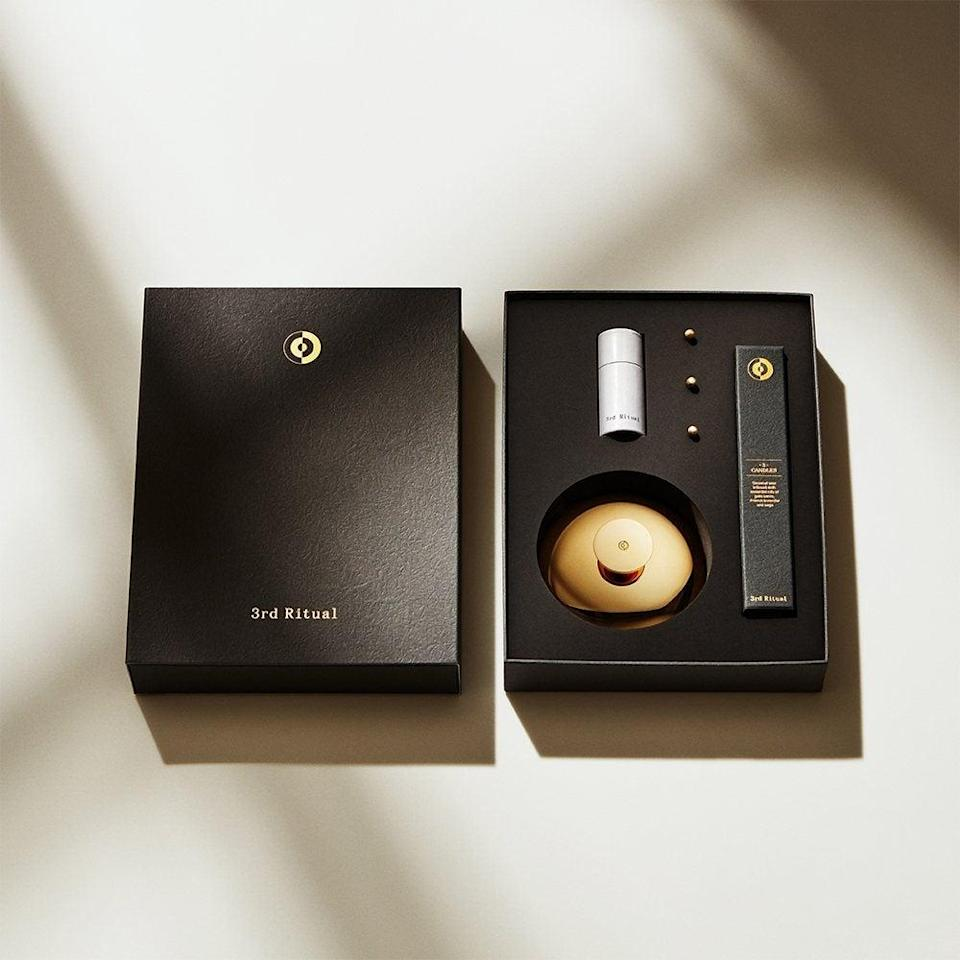 "<h2>3rd Ritual BEL</h2><br>Is your meditation-obsessed friend still using a phone app to track their sessions? They need this upgrade. The BEL comes with a soft candle that sits in a brass holder, and brass pins. Stick a pin into the candle before lighting it. As the candle melts, the pin loosens, finally dropping into the holder with a beautiful ding to indicate the session's over. (There's a ruler that helps you figure out how far down the candle to push your pin, depending on how long you want to sit.) It's a much calmer way to end a <a href=""https://www.refinery29.com/en-us/30-day-meditation-challengehttps://www.refinery29.com/en-us/30-day-meditation-challenge"" rel=""nofollow noopener"" target=""_blank"" data-ylk=""slk:meditation"" class=""link rapid-noclick-resp"">meditation</a> — and the candle smells good too, like lavender and sage. <br><br><br><strong>3rd Ritual</strong> BEL, $, available at <a href=""https://go.skimresources.com/?id=30283X879131&url=https%3A%2F%2F3rdritual.com%2Fproduct%2Fbel%2F"" rel=""nofollow noopener"" target=""_blank"" data-ylk=""slk:3rd Ritual"" class=""link rapid-noclick-resp"">3rd Ritual</a>"