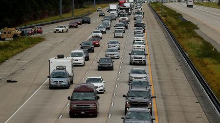 Traffic is seen traveling south on Interstate 95 toward Florida after Hurricane Irma passed through in Brunswick