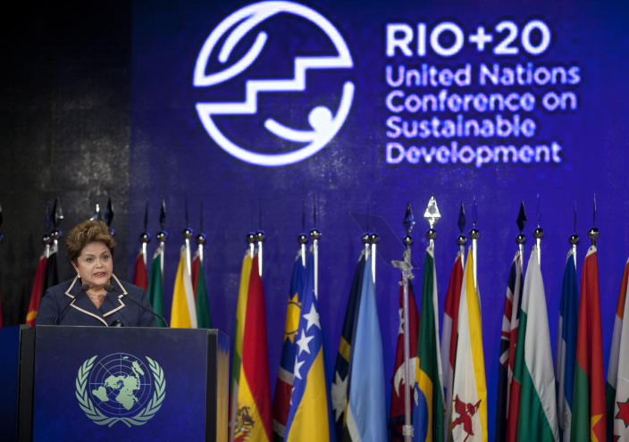 Brazil's President Dilma Rousseff speaks during the closing ceremony of the United Nations Conference on Sustainable Development, or Rio+20, in Rio de Janeiro, Brazil, Friday, June 22, 2012.(AP Photo/Andre Penner)