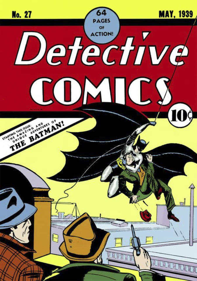 """<p>Mostly we'll be looking at screen interpretations of <a href=""""https://ew.com/creative-work/batman/"""">Batman</a> here, but any costume history must start with the very first appearance. The character's costume was originally designed a little bit more explicitly to look like a bat in one of the most famous comic issues of all time from writer <a href=""""https://ew.com/article/2015/09/18/batman-bill-finger-credit/"""">Bill Finger</a> and artist <a href=""""https://ew.com/article/2015/10/21/bob-kane-hollywood-walk-of-fame-star/"""">Bob Kane</a>.</p> <p><strong>Related:</strong> <a href=""""_wp_link_placeholder"""">DC Comics co-publishers reflect on Batman's 80th birthday</a></p>"""