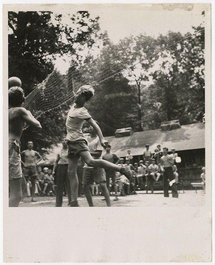 Boys playing volleyball at Camp Wakitan, from the Records of the Hebrew Orphan Asylum of the City of New York.