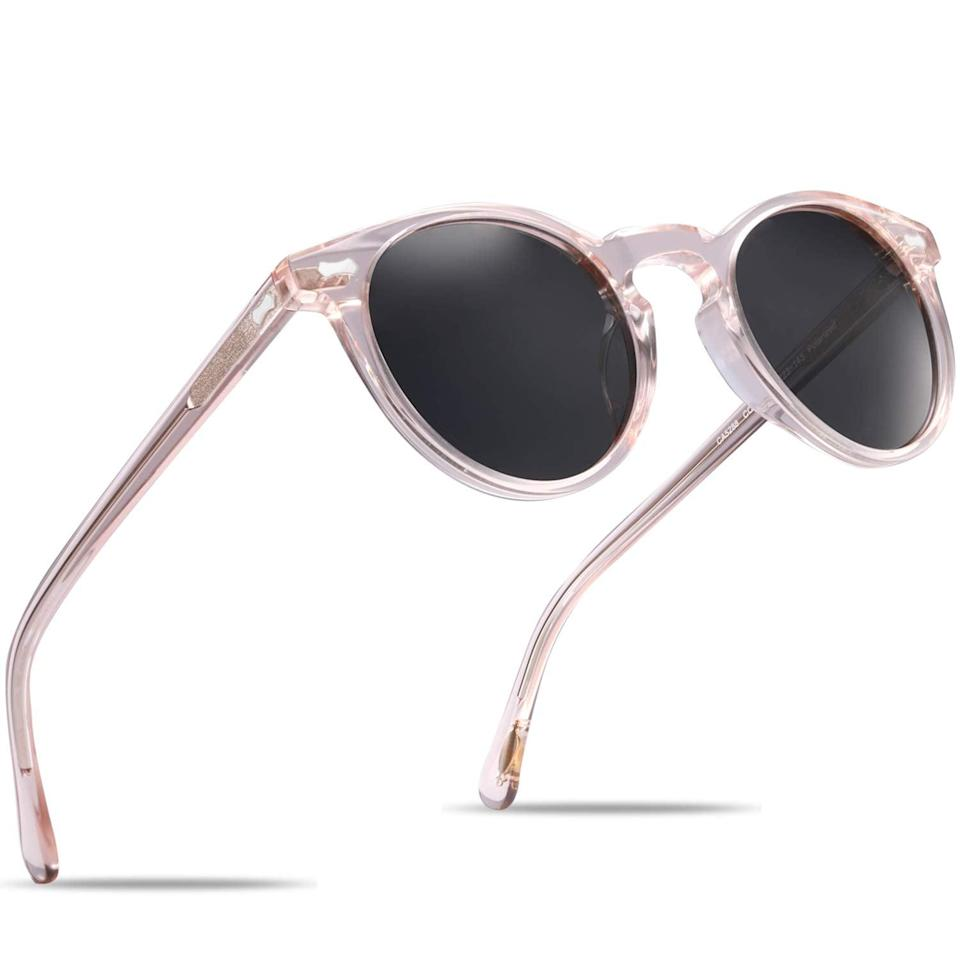 """<h2>Carfia Vintage Round Polarized Sunglasses</h2><br>A classic pair of round polarized sunglasses is hard to beat. They mesh seamlessly with virtually any look. <br><br><strong>The Hype:</strong> 4.5 out of 5 stars and 91 reviews<br><br><strong>What They Are Saying:</strong> """"LOVE, LOVE, LOVE these glasses! They come well packaged in a box with a case and cleaning cloth. They feel pretty substantial, better than my $65.00 polarized sunglasses and they don't fall off my face when I lean forward. They look great and the lenses are fantastic! Thinking about buying a backup pair in case I lose them (which I eventually will). You will be happy with your purchase."""" - Amazon reviewer<br><br><em>Shop <strong><a href=""""https://amzn.to/3wCHnq7"""" rel=""""nofollow noopener"""" target=""""_blank"""" data-ylk=""""slk:Carfia"""" class=""""link rapid-noclick-resp"""">Carfia</a></strong></em><br><br><br><strong>Carfia</strong> Carfia Vintage Round Polarized Sunglasses for Women UV Protection Hand-Crafted Acetate Frame Outdoor Eyewear CA5288C, $, available at <a href=""""https://amzn.to/3ggqICS"""" rel=""""nofollow noopener"""" target=""""_blank"""" data-ylk=""""slk:Amazon"""" class=""""link rapid-noclick-resp"""">Amazon</a>"""