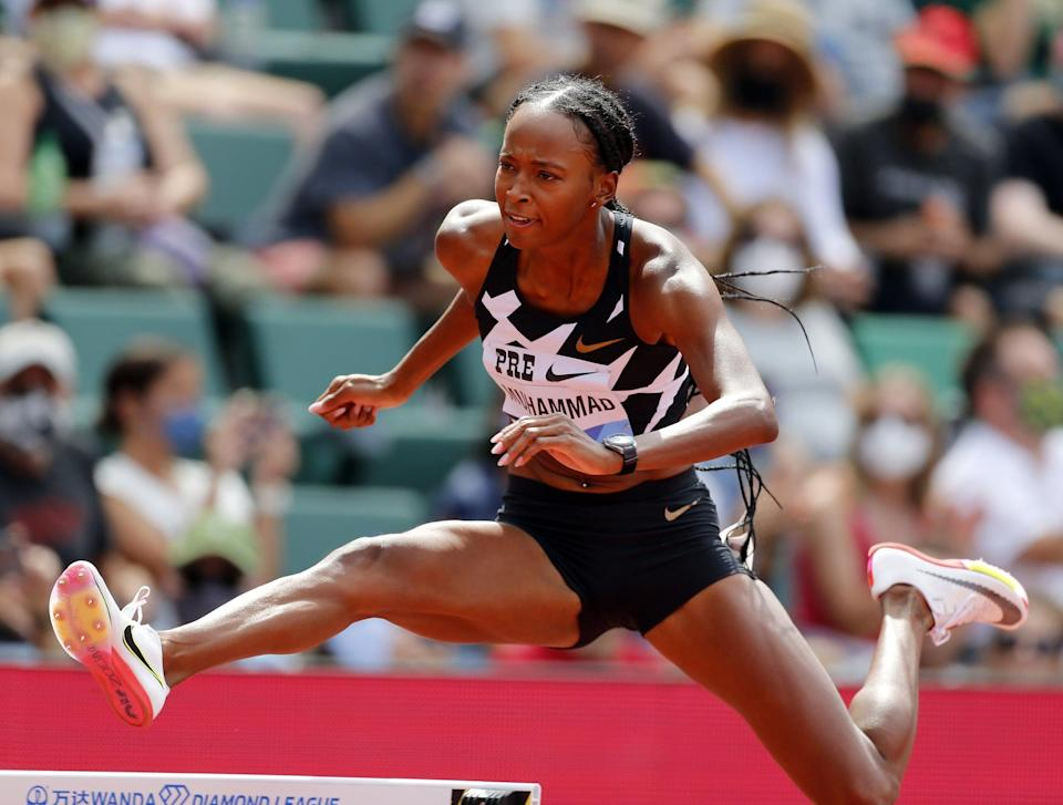 """<p>With her 52.77 win, Team USA's Dalilah Muhammad set a new meet record on the women's 400m hurdles. The previous record was held by fellow Team USA member <a href=""""http://www.popsugar.com/fitness/photo-gallery/48453701/image/48453780/Sydney-McLaughlin-Dalilah-Muhammad-Empower-Each-Other-on-Off-Track"""" class=""""link rapid-noclick-resp"""" rel=""""nofollow noopener"""" target=""""_blank"""" data-ylk=""""slk:Sydney McLaughlin"""">Sydney McLaughlin</a> with a time of 52.85 which was set in 2019.</p>"""
