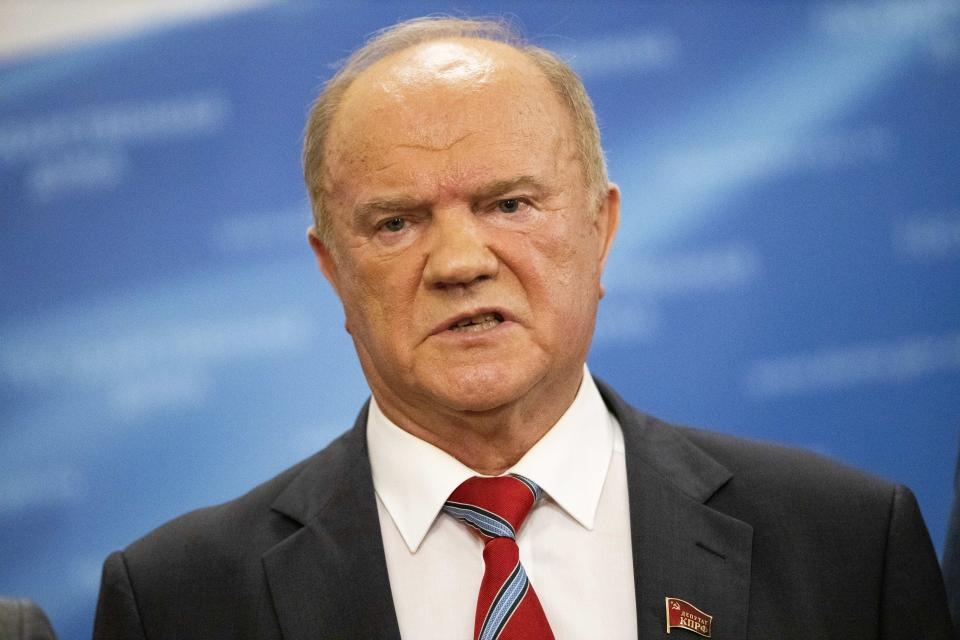 """FILE - In this file photo taken on Wednesday, July 22, 2020, Russian Communist Party leader Gennady Zyuganov speaks to the media prior to a session at the State Duma, the Lower House of the Russian Parliament, in Moscow, Russia. The head of Russia's second-largest political party is alleging widespread violations in the election for a new national parliament, in which his party is widely expected to gain seats. Communist Party head Gennady Zyuganov said on Saturday, the second of three days of voting in the election, that police and the national elections commission must respond to reports of """"a number of absolutely egregious facts"""" including ballot-stuffing in several regions. (AP Photo/Alexander Zemlianichenko, File)"""