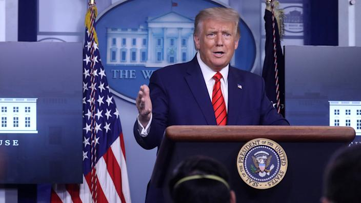 President Trump takes questions at a news conference
